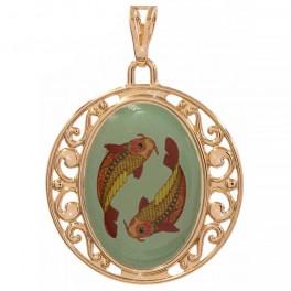 Подвеска лимонное золото Знаки Зодиака (Рыбы) - с цветным изображением