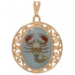 Подвеска лимонное золото Знаки Зодиака (Скорпион) - с цветным изображением