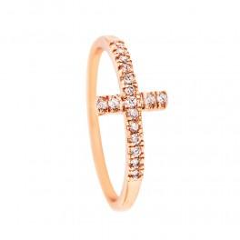 Кольцо позолота Тонкий крестик