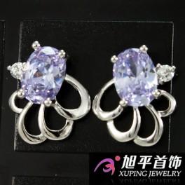 Серьги-гвоздики родиум Овальн. камень с 4мя завитками и 1м мал. кам.