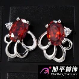 Серьги-гвоздики родиум Овальный камень с оборочкой