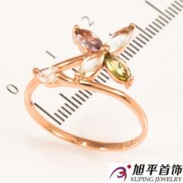 Кольцо позолоченное четырехлистный цветочек