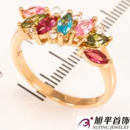 Кольцо лимонное золото Волна из узких мелких камней