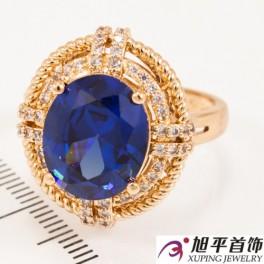 Кольцо лимонное золото «Большой овальный камень»