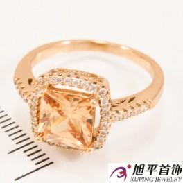 Кольцо лимонное золото Квадратный камень