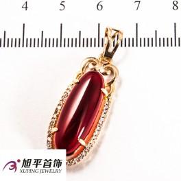 Подвеска лимонная позолота овальный камень (2,2 см)