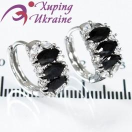 """Серьги родиум """"Полукольцо из 3х узких овальн. камней(поперек)+мелк."""""""