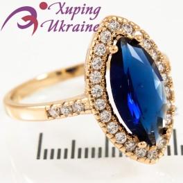 Кольцо лимонная позолота Маркиз с синим цирконом