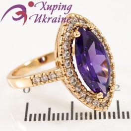 Кольцо лимонная позолота Маркиз с фиолетовым цирконом
