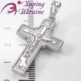 Подвеска родиум Крест с распятием, 3 см