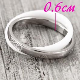 Кольцо керамика+сталь Переплетение 2х колец