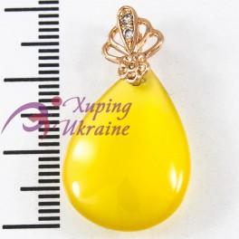 Подвеска лимонная позолота, желтый камень капля