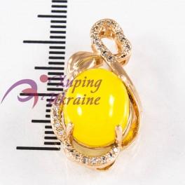 Подвеска лимонная позолота Овальный камень