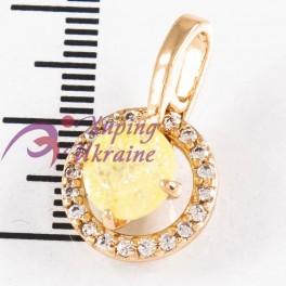 Подвеска лимонная позолота, цветной камень с блестками, 0,7