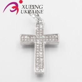 Подвеска родиум  Крест 2 ряда камней